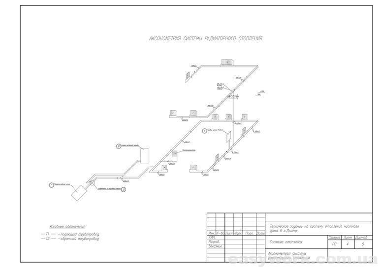Аксонометрия системы радиаторного отопления дома
