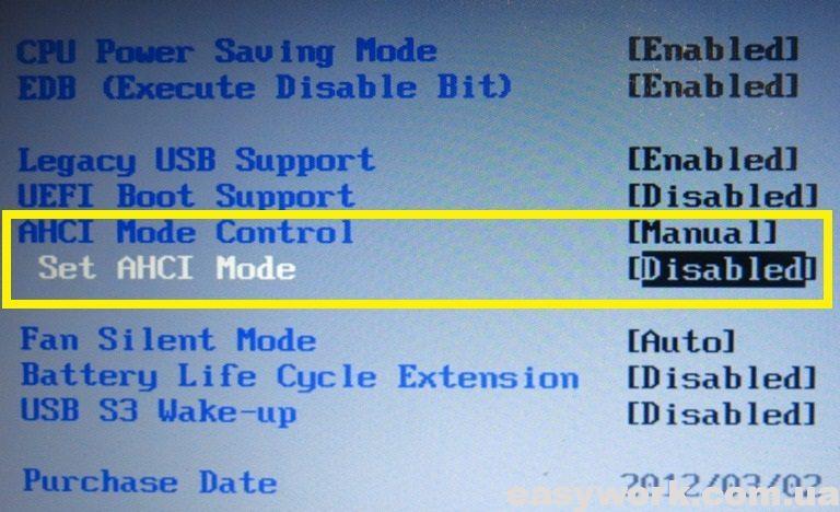 "Опция ""AHCI Mode Control"" в меню БИОСа"