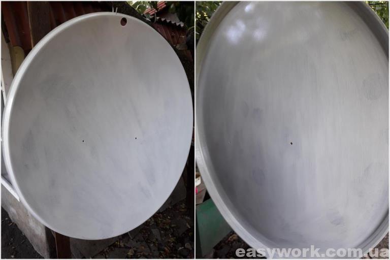 Спутниковая тарелка после покраски (1 слой)