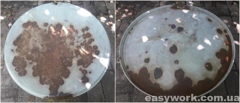 Очищенная от ржавчины спутниковая тарелка