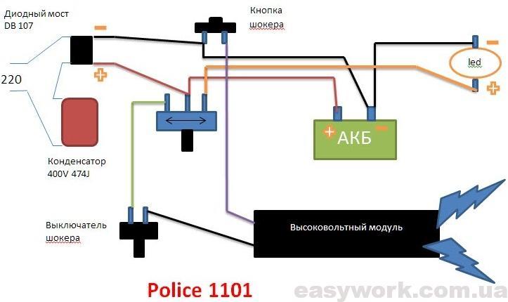 Схема фонаря Police 1101