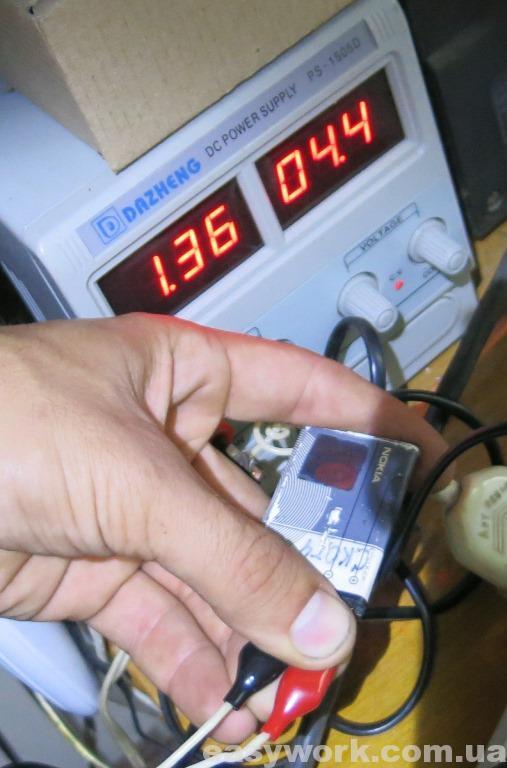 Зарядка аккумулятора от внешнего блока питания
