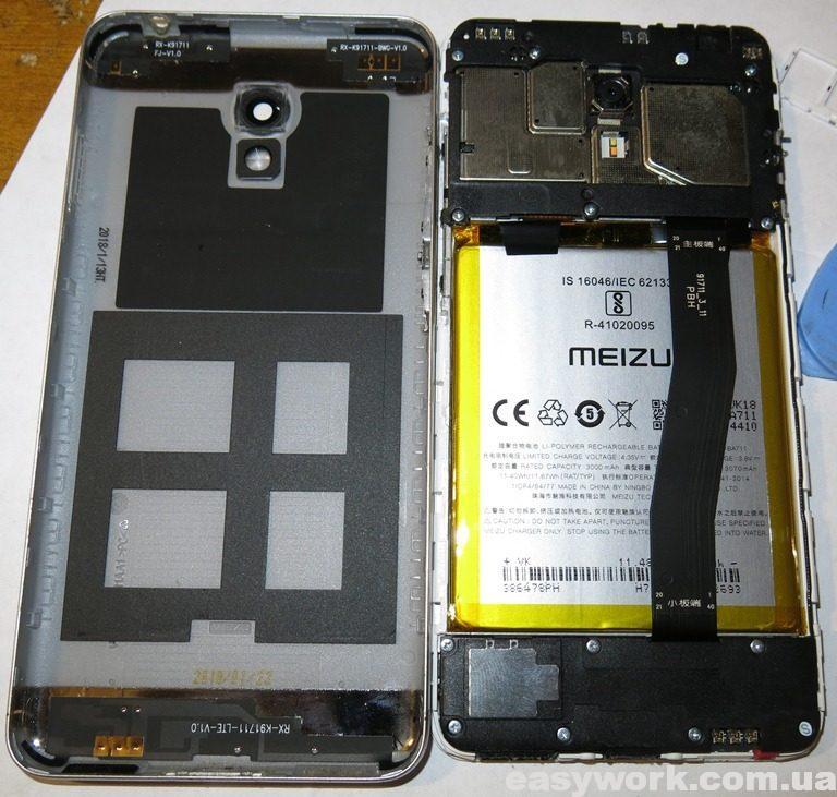 Внутреннее устройство телефона Meizu M6 M711H