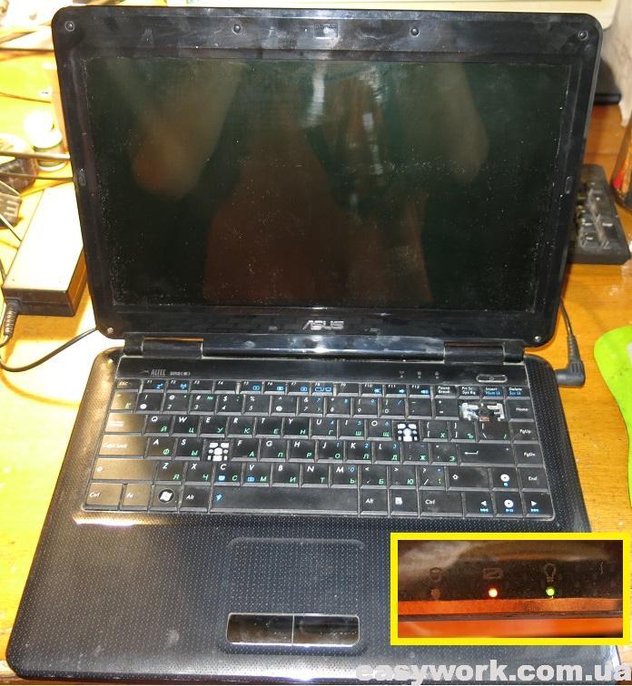 Включение ноутбука ASUS K40AD