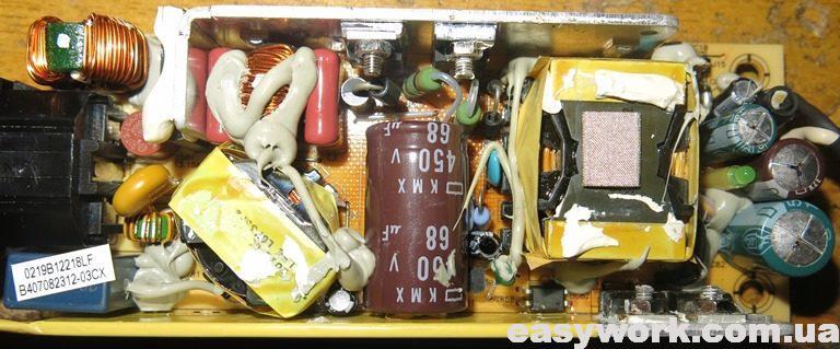 Внутреннее устройство БП Li Shin 0219B1280 12V 6.67A