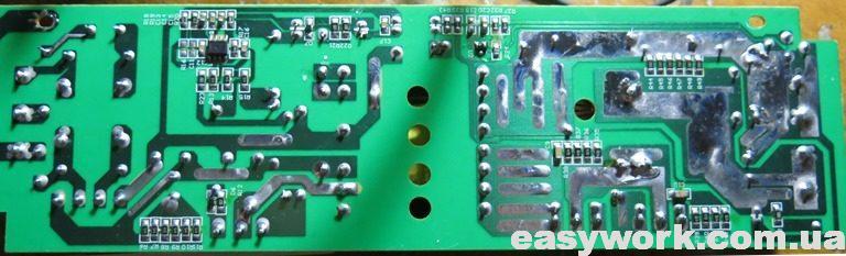 Плата LED драйвера с обратной стороны