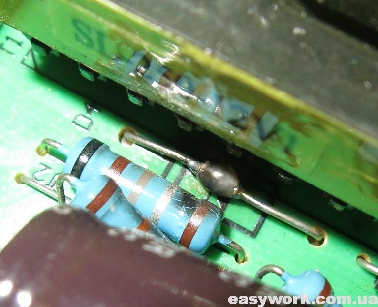Сгоревший токоизмерительный резистор
