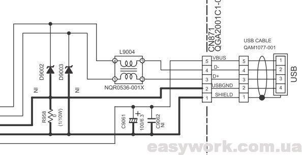 Принципиальная схема USB разъема