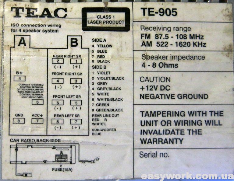 Распиновка подключения магнитолы TEAC TE-905