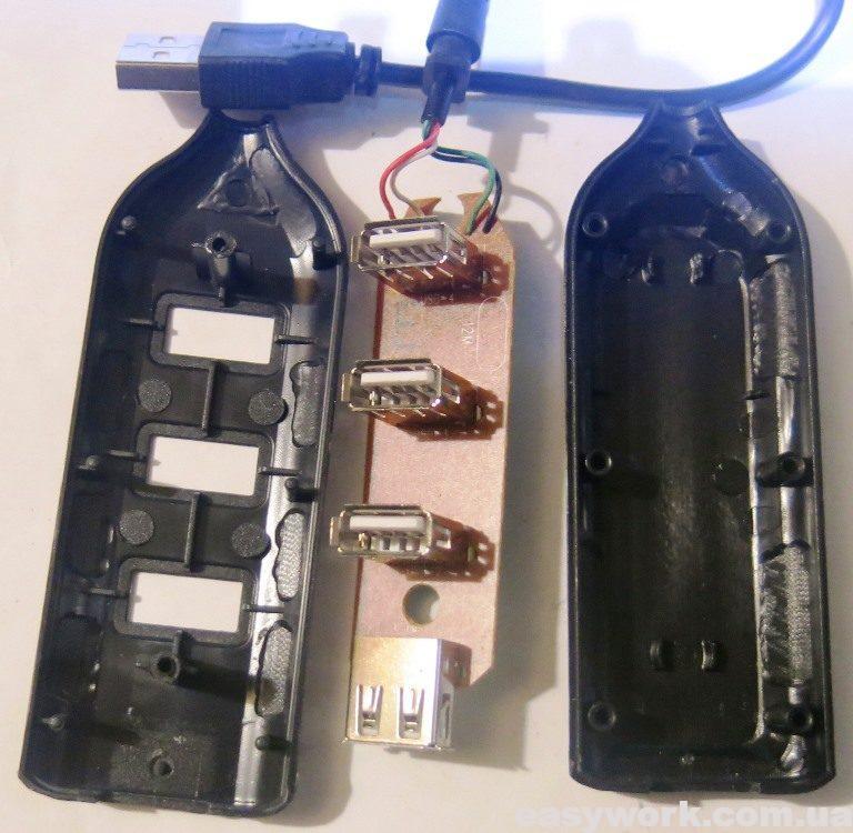 USB-хаб 3009A в разобранном виде