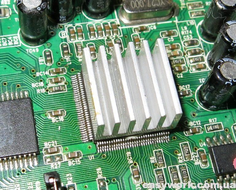 Установленный радиатор на процессор