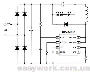 Схема включения LED драйвера BP2836D