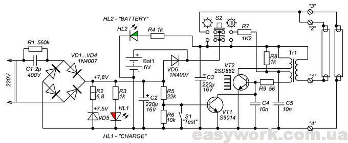 Принципиальная схема аварийного светильника