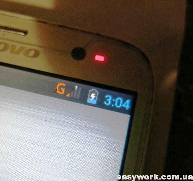 Индикация зарядки Lenovo A850