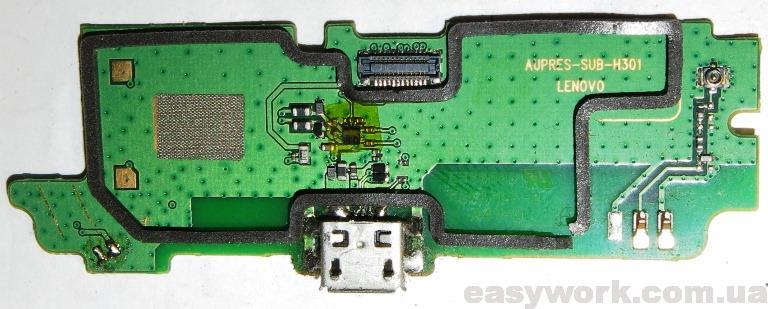 Снятие разъема micro-USB