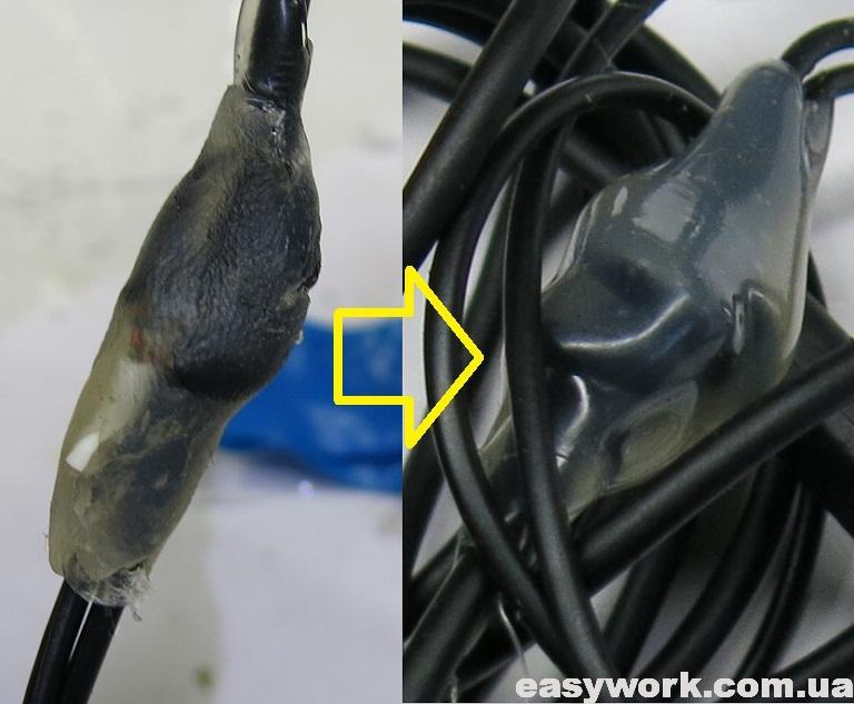 Термоклей в месте соединения проводников