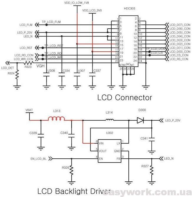 Схема подсветки и разъема дисплея