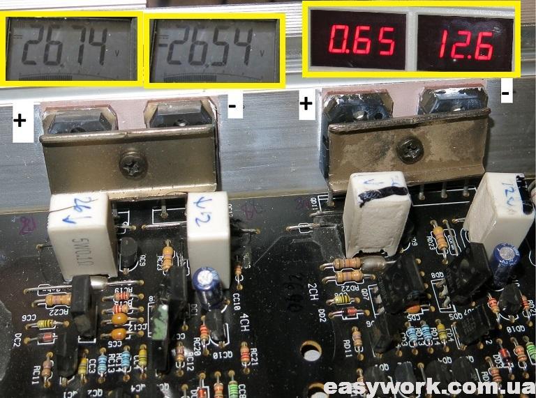 Напряжения на силовых транзисторах