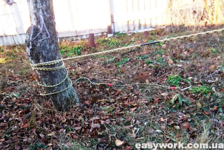 Страховка натянутой веревки