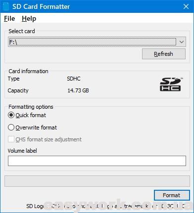Форматирование карты памяти в программе SDFormatter