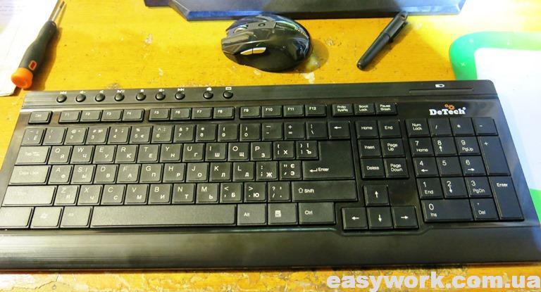Отремонтированная клавиатура DeTech KM-226W