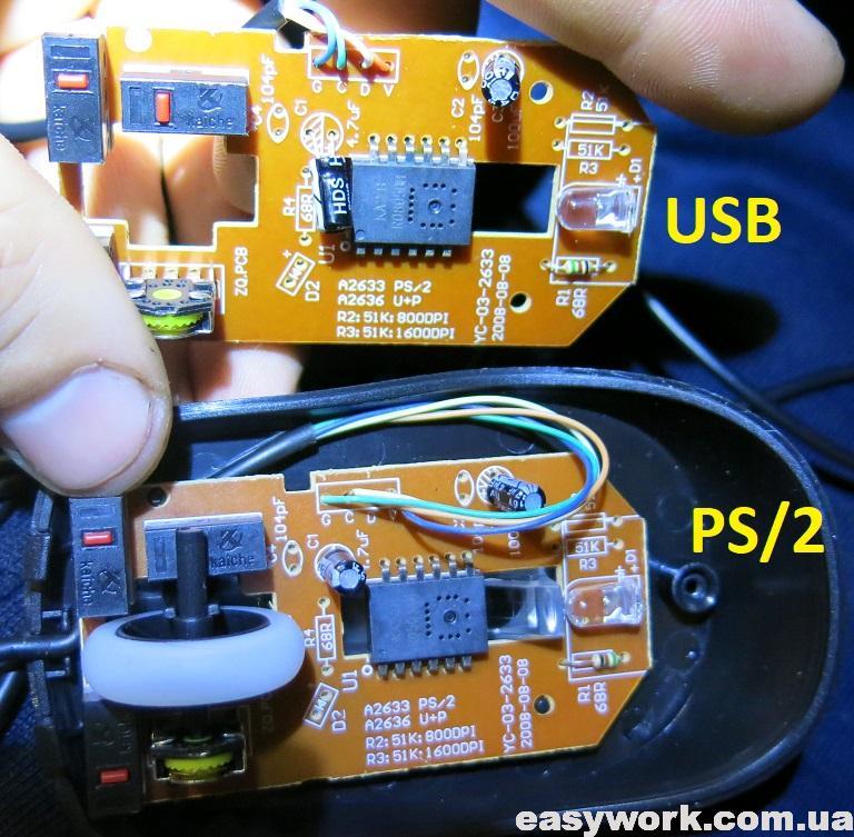 Отсутствие отличий мыши USB и PS2