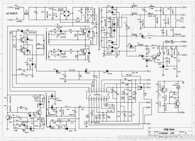Схема блока питания на микросхеме CCG8010DX