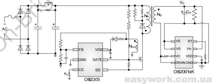 Схема включения микросхемы OB2001WCP