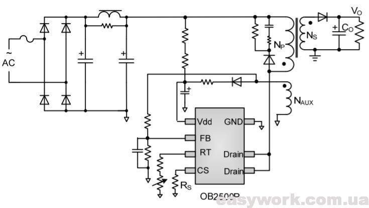 Схема включения микросхемы OB2500P