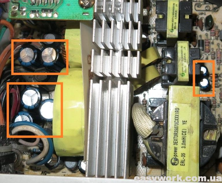 Замененные конденсаторы