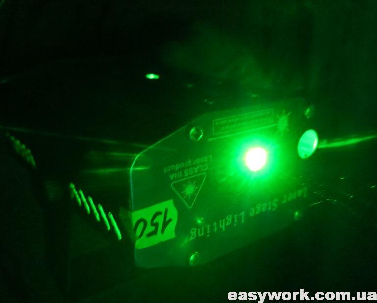 Зеленый луч проектора