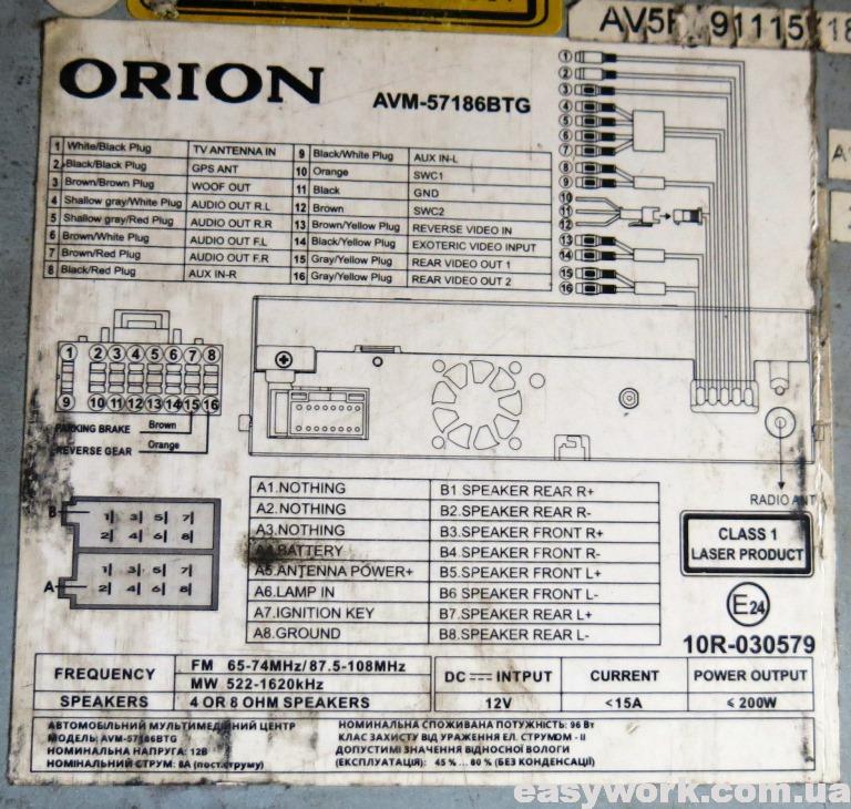 Наклейка с схемой подключения магнитолы Orion AVM-57186BTG