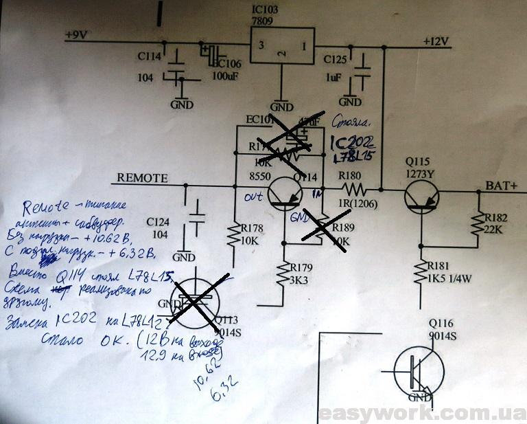 Принципиальная схема сигнала REMOTE
