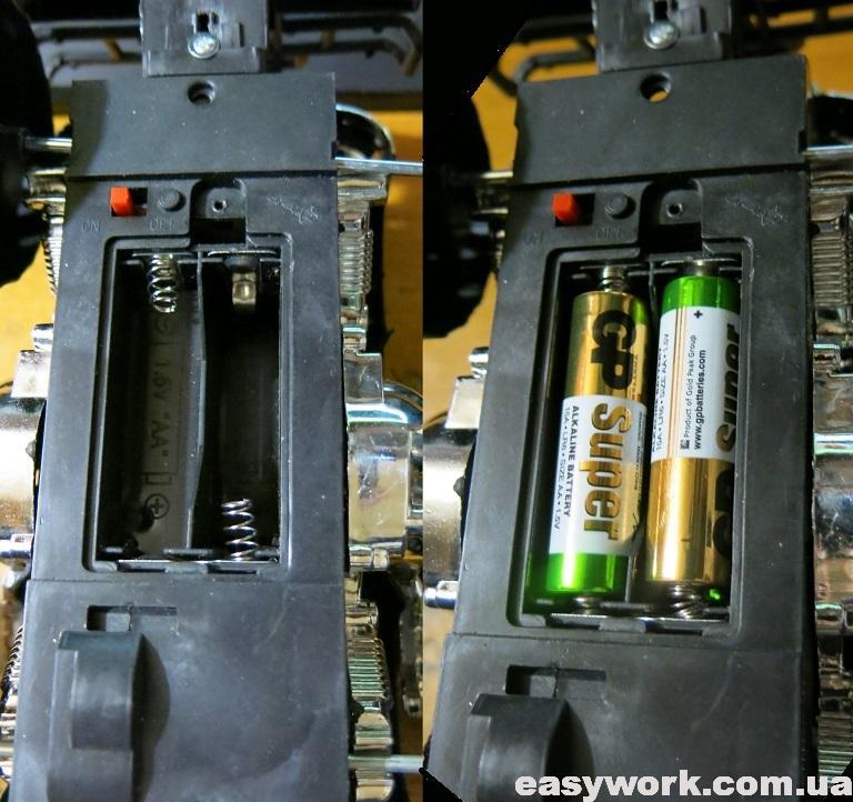 Батарейки в отсеке