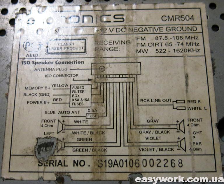 Наклейка с схемой подключения
