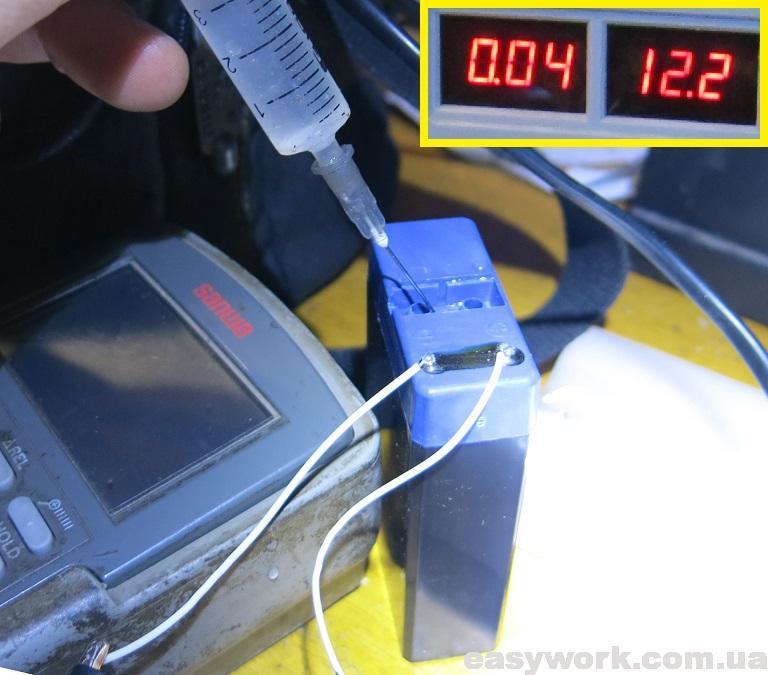 Замена электролита аккумулятора