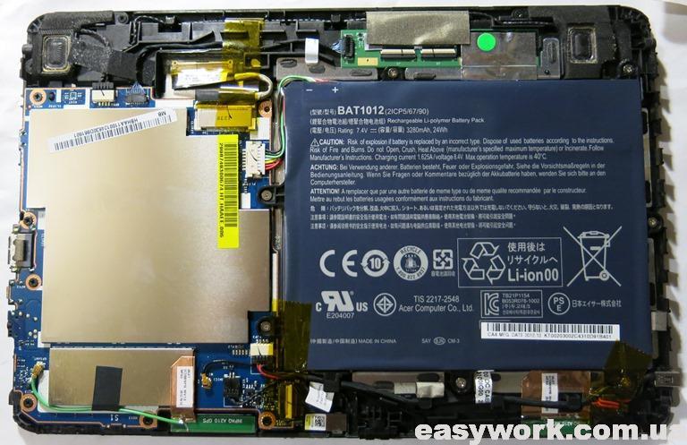 Внутреннее устройство планшета ACER ICONIA TAB A210