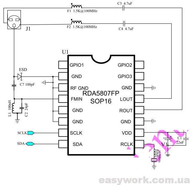 Схема включения RDA5807FP