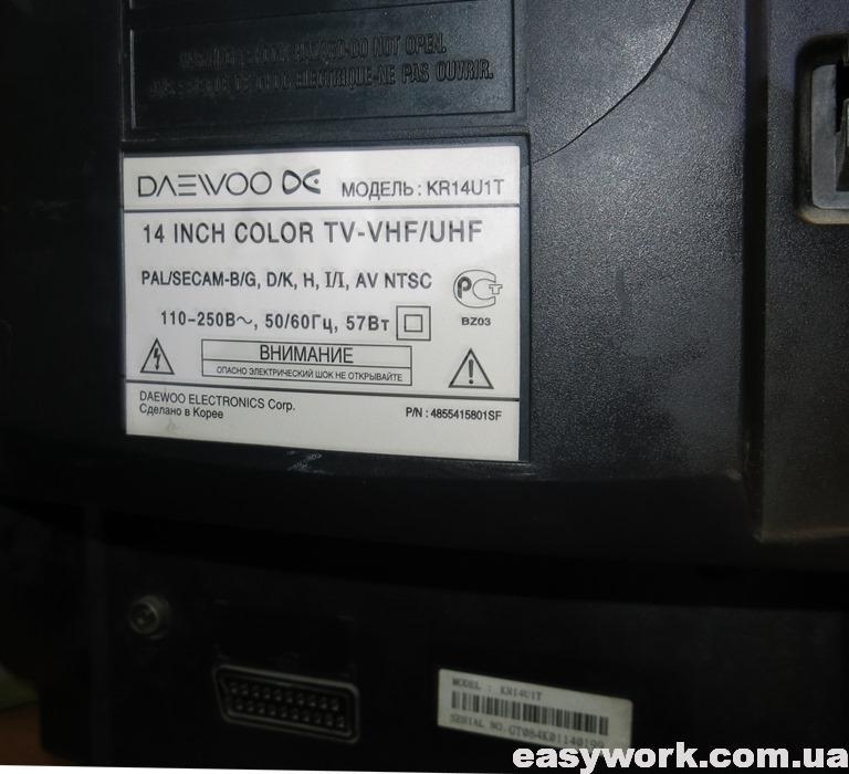 Наклейка с указанием модели телевизора