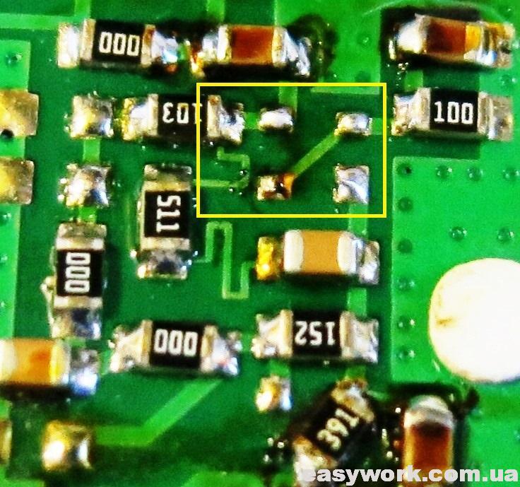 Расположение дорожек под транзистором