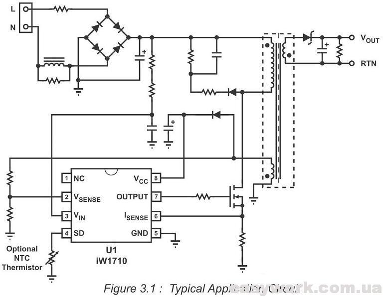 Схема включения микросхемы IW1710