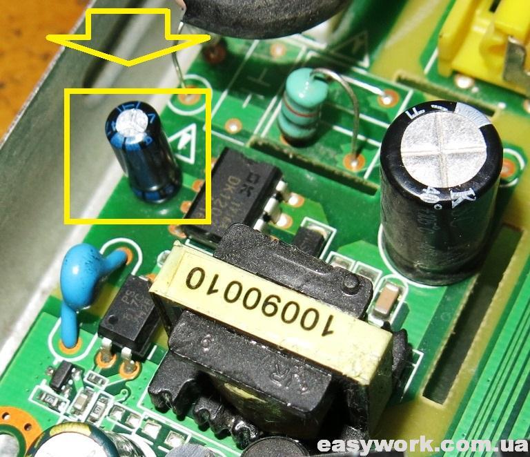 Замененный конденсатор в БП