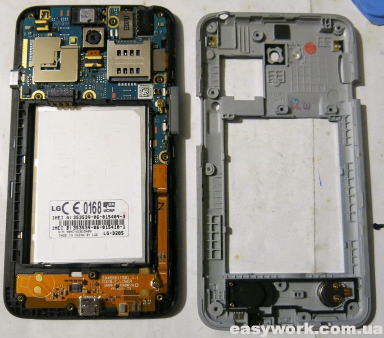 Внутреннее устройство телефона LG-D285