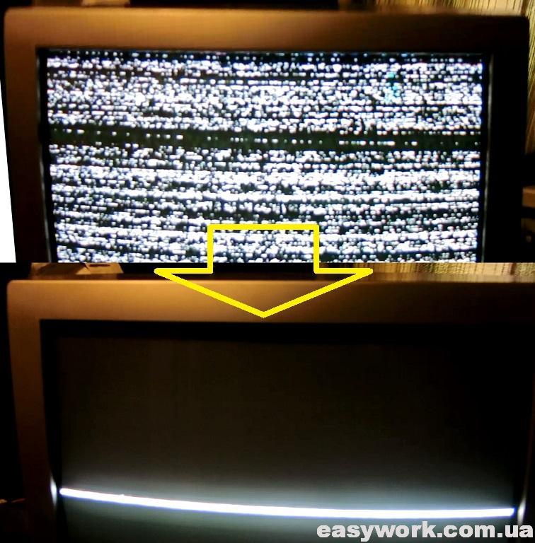 Проявление неисправности на экране телевизора